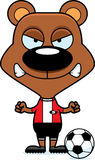 Cartoon Angry Soccer Player Bear Stock Images