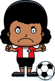 Cartoon Angry Soccer Player Girl Stock Photos