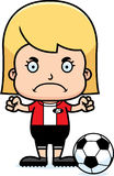 Cartoon Angry Soccer Player Girl Royalty Free Stock Photo