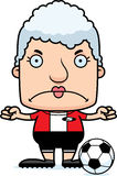 Cartoon Angry Soccer Player Woman Royalty Free Stock Photos