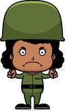 Cartoon Angry Soldier Girl Stock Photography