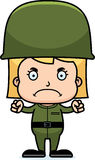 Cartoon Angry Soldier Girl Royalty Free Stock Images