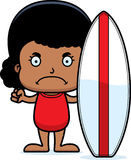 Cartoon Angry Surfer Girl Stock Photography