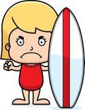 Cartoon Angry Surfer Girl Royalty Free Stock Photos