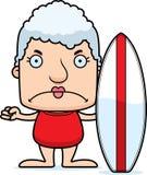Cartoon Angry Surfer Woman Stock Photo