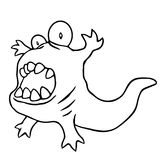 Cartoon angry tadpole. Vector illustration. Stock Photography