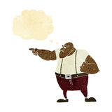 cartoon angry tough guy pointing with thought bubble Royalty Free Stock Photo