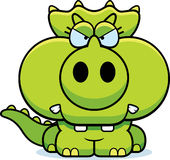 Cartoon Angry Triceratops. A cartoon illustration of a little Triceratops dinosaur with an angry expression vector illustration