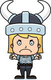 Cartoon Angry Viking Girl Stock Image