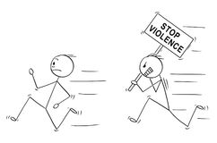 Cartoon of Angry Violent Man Holding Stop Violence Sign Chasing Another Man. Cartoon stick drawing conceptual illustration of angry violent man holding stop Stock Images