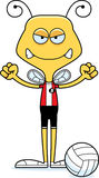 Cartoon Angry Volleyball Player Bee Stock Photography