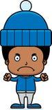 Cartoon Angry Winter Boy Royalty Free Stock Photo