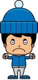 Cartoon Angry Winter Boy Stock Photo