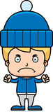 Cartoon Angry Winter Boy Royalty Free Stock Photography