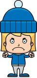 Cartoon Angry Winter Girl Stock Image