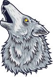 Cartoon angry wolf head mascot vector illustration