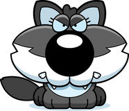 Cartoon Angry Wolf Pup. A cartoon illustration of a wolf pup with an angry expression stock illustration