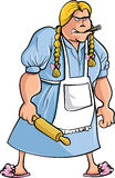 Cartoon angry woman with rolling pin. Isolated Royalty Free Stock Photo