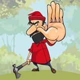Cartoon angry woodsman with an axe in the woods stops by hand. Cartoon angry woodsman with an axe in woods stops by hand vector illustration