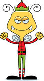 Cartoon Angry Xmas Elf Bee Royalty Free Stock Photo