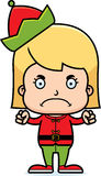 Cartoon Angry Xmas Elf Girl Stock Image