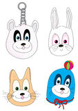 Cartoon Animal 4 Faces_eps Stock Images