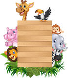 Cartoon animal africa with wooden sign Royalty Free Stock Photo
