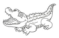 Cartoon animal - alligator - caricature - coloring page Royalty Free Stock Photos