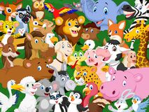 Cartoon animal background Stock Photo