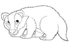 Cartoon animal - badger - coloring page Stock Photo