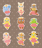 Cartoon animal ballerina dancer stickers Stock Image
