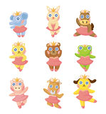 Cartoon animal ballerina icons Stock Photography