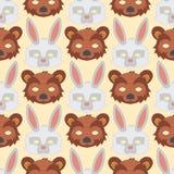 Cartoon animal bear rabbit party masks vector holiday illustration party fun seamless pattern background. Celebration character head masquerade festival Royalty Free Stock Image