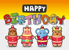 Cartoon animal birthday card Royalty Free Stock Photo