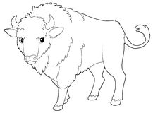 Cartoon animal - bison - isolated - coloring page Stock Photography