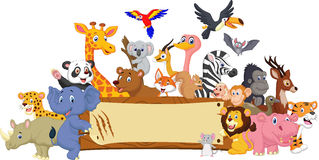 Cartoon animal with blank sign Royalty Free Stock Photos