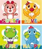 Cartoon animal card Stock Photos