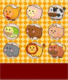 Cartoon animal card Royalty Free Stock Image