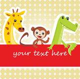 Cartoon animal card. Vector illustration Stock Photos