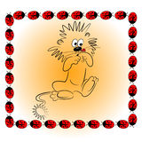 Cartoon animal character with ladybird  illu Royalty Free Stock Photo