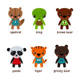 Cartoon animal characters with smiley faces. Cartoon frog and grizzly bear, anuran and toad, squirrel and bun, panda and tiger, koala and chipmunks. Smiling Royalty Free Stock Images