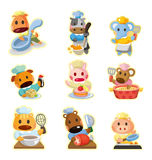 Cartoon animal chef icons collection Royalty Free Stock Photography