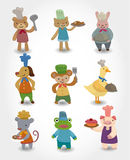 Cartoon animal chef icons set. Drawing Stock Images