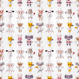 Cartoon animal chef seamless pattern Stock Photos