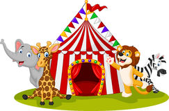 Cartoon animal circus with circus tent Royalty Free Stock Image