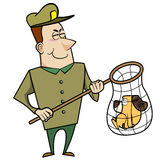 Cartoon Animal Control Officer with Dog in Net. Cartoon animal control officer with a cat caught in a net Royalty Free Stock Photos