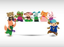 Cartoon animal dance card Royalty Free Stock Photos