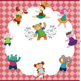 Cartoon animal dancer seamless pattern Stock Image