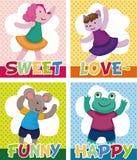 Cartoon animal dancer seamless pattern Royalty Free Stock Images
