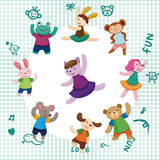 Cartoon animal dancer seamless pattern Stock Photography